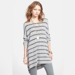 FREE PEOPLE Gray Striped Tunic Sweater Oversize S